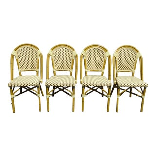 Set of Four Dhc Woven Faux Bamboo Metal & Vinyl Dining Chairs For Sale