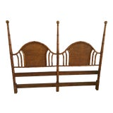 Image of American of Martinsville Vintage Faux Bamboo and Wicker Queen Size Headboard For Sale