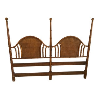 Walnut American of Martinsville Vintage Faux Bamboo and Wicker Queen Size Headboard For Sale