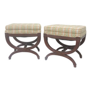 French Style Carved X Base Stools - a Pair For Sale