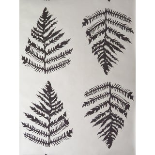 Erica Tanov Fern Wallpaper in Platinum + Chocolate - 1 Roll For Sale