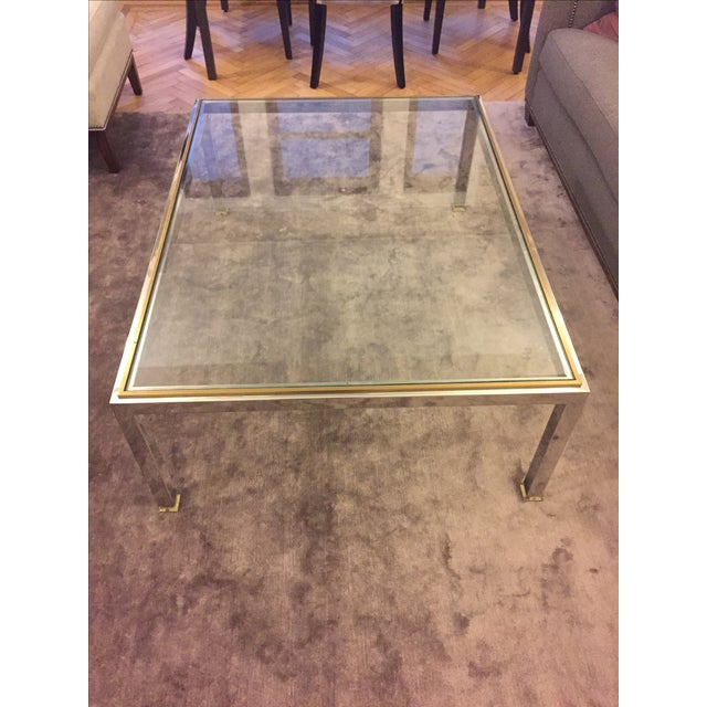 Modern Brass and Chrome Coffee Table - Image 4 of 4