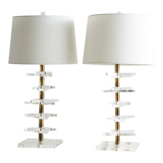 Pair of Brass and Lucite Table Lamps For Sale