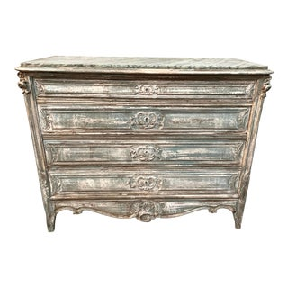 Antique French Light Green Distress-Painted Commode For Sale