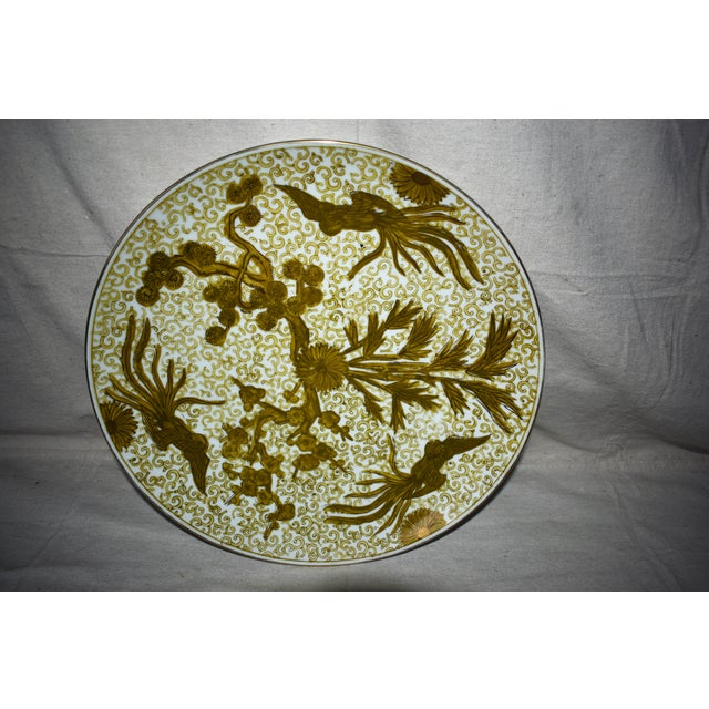Mid 20th Century Imari Hand Painted Gold Large Plate For Sale - Image 5 of 6