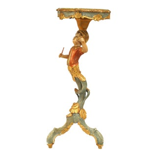 19th-20th Century Italian Venetian Style Polychromed Pedestal Stand For Sale