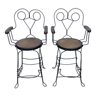 Antique Ice Cream Parlor Stool Arm Chairs - a Pair For Sale