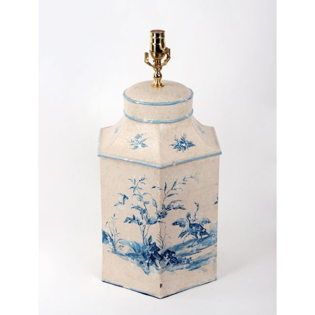 Chinoiserie Vintage Hand-Painted British Export Tea Caddy Table Lamp For Sale - Image 3 of 10