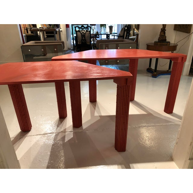 Chinese Red Bamboo Style Console Tables - a Pair For Sale - Image 11 of 13