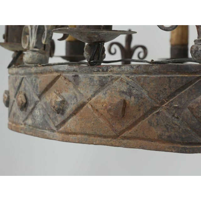 Antique French Hand-Forged Iron Chandelier, Circa 1900 For Sale - Image 9 of 10