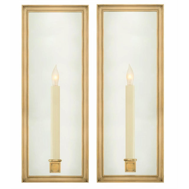 Art Deco Chapman for Visual Comfort Lund Solid Brass & Mirrored Light Sconces - a Pair For Sale - Image 3 of 3