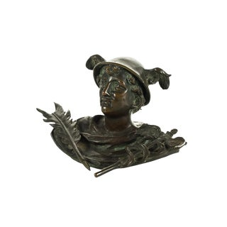 19th Century Mercury Bronze Figure Pen Holder For Sale