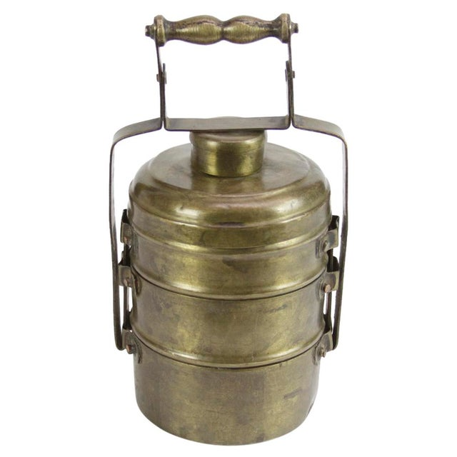 Three Tier Brass Lunch Box For Sale - Image 4 of 4
