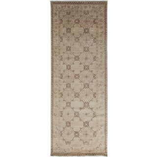 """Turkish Oushak Hand-Knotted Runner Rug - 3'10"""" X 10'"""