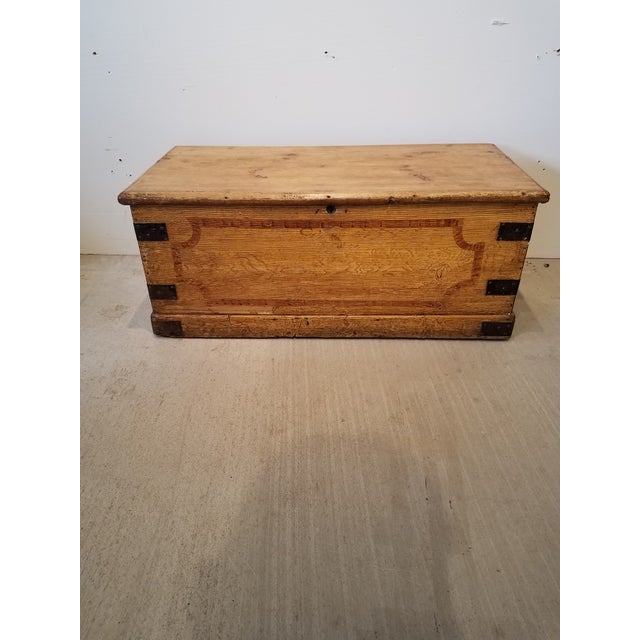 Late 19th Century Antique Pine Trunk With Original Hardware For Sale - Image 13 of 13