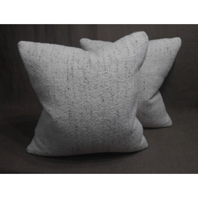 Feather Rosemary Hallgarten Wool Fabric Alpaca Boucle Throw Pillows - a Pair For Sale - Image 7 of 7