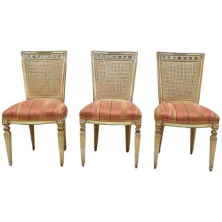 1940s Vintage Caned Back Carved Mahogany Louis XVI Style Chairs- Set of 3 For Sale