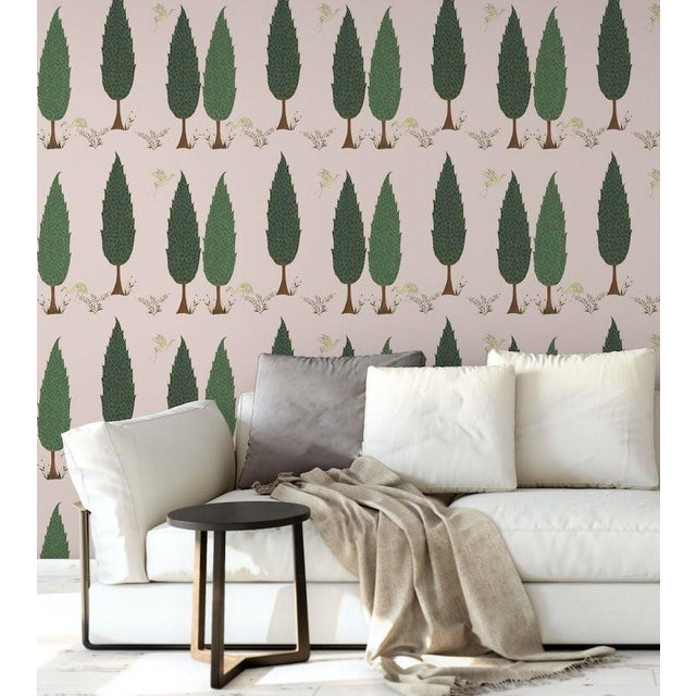 Contemporary Tranquility Wallpaper in Blossom Pink, 6 Rolls For Sale - Image 3 of 4
