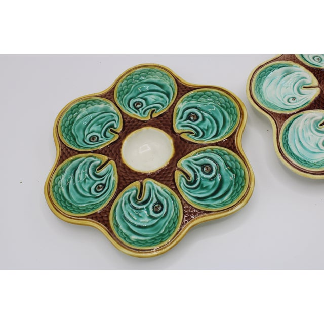 Teal Antique Wedgewood Majolica Ceramic Oyster Plates For Sale - Image 8 of 12