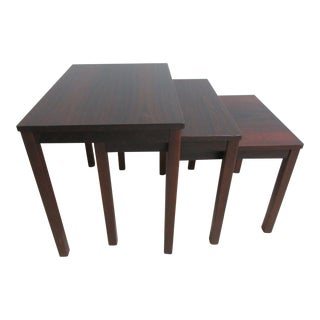 Vintage Danish Modern Rosewood Nesting Tables - Set of 3 For Sale