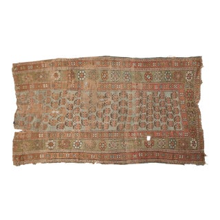 "Antique Distressed Kurdish Rug Fragment - 3'6"" X 6' For Sale"