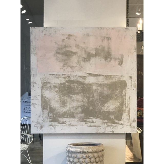 Original Abstract Modern Pink & Beige Painting For Sale - Image 4 of 4