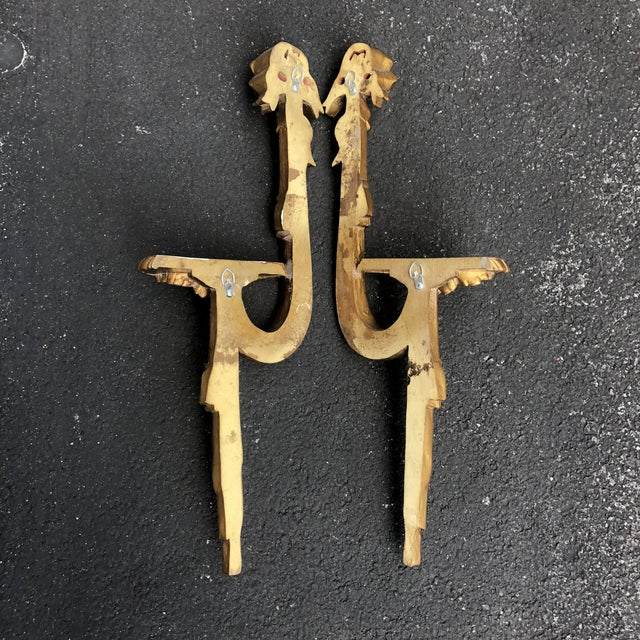 Gold Gilt Ribbon Tassel Wall Shelf Sconces - a Pair For Sale - Image 4 of 8