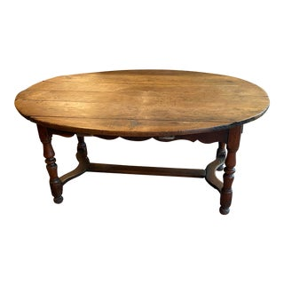 Antique Rustic Plank Top Oval Dining Table For Sale