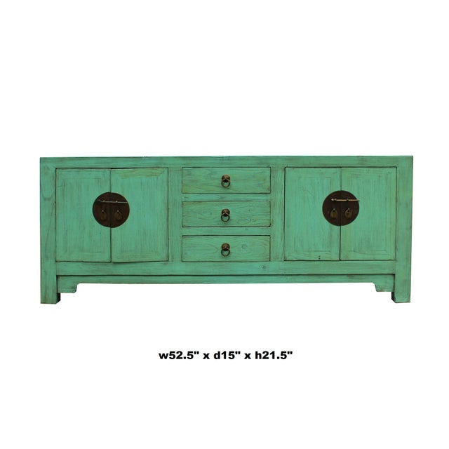 Asian Distressed Teal Blue Wood Pattern Low Console Table Cabinet For Sale - Image 3 of 9
