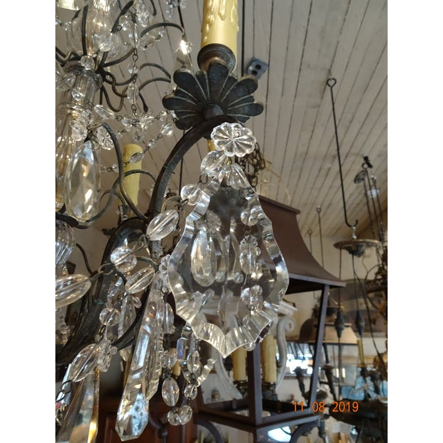 Small Vintage French Crystal Chandelier For Sale - Image 10 of 13