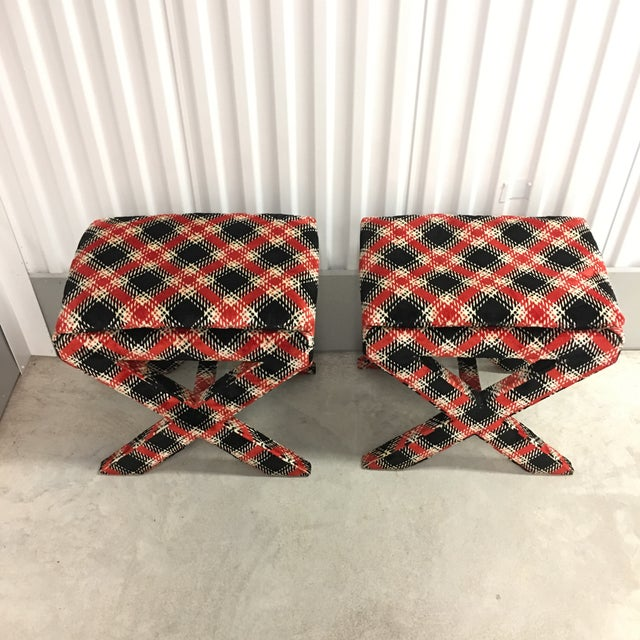 Contemporary Velvet Plaid X Bench Stools- a Pair For Sale - Image 3 of 7