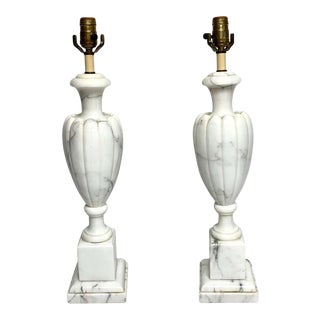 Pair of Italian Modern Carrera Marble Lamps For Sale