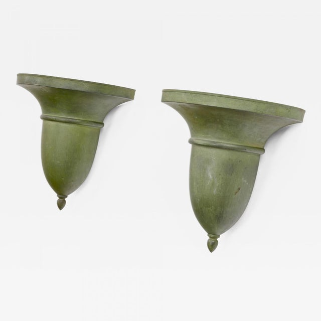 French Neo Classical Refined Tole Sconces With a Green Antique Patina For Sale - Image 6 of 8