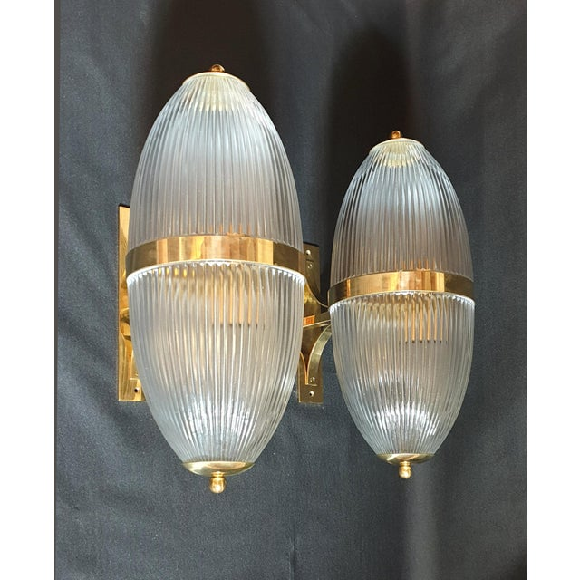 Large Mid-Century Modern Clear Glass & Brass Italian Sconces or Lanterns - a Pair For Sale - Image 12 of 12