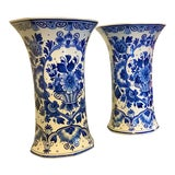 Image of 1920s Vintage Delft Blue Vases by Zenith - A Pair For Sale