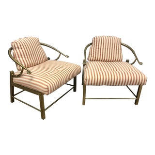 1960s Hollywood Regency Mastercraft Brass Armchairs - a Pair