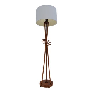 Paul Frankl Style Bamboo Floor Lamp For Sale