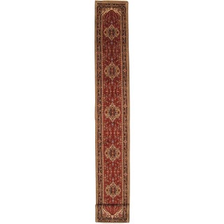 """Pasargad Ny Serapi Design Hand-Knotted Runner Rug - 2'6"""" X 19'7"""" For Sale"""