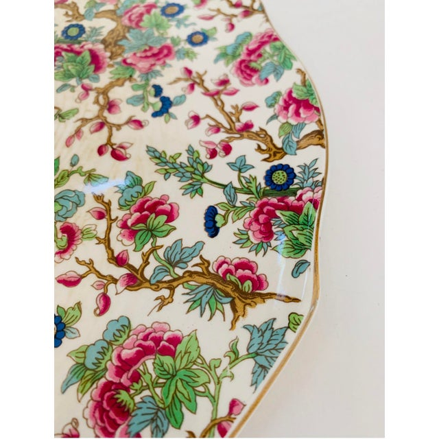 1970s Vintage Chintz English Floral Cake Serving Platter and Pie Knife - the Set For Sale - Image 5 of 9