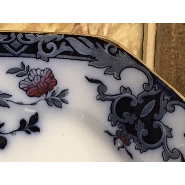 Traditional Late 20th Century English Staffordshire Style Ironstone Blue & White Platter For Sale - Image 3 of 13