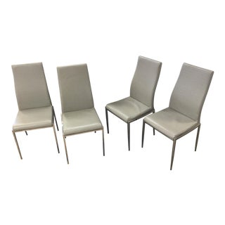 Vintage Mid-Century Alligator Leatherette & Chrome Dining Chairs - Set of 4 For Sale