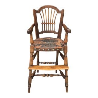 Rare 18th Century Country French Walnut Child's High Chair For Sale