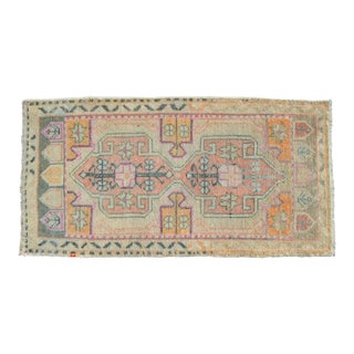 Distressed Low Pile Turkish Small Rug Yastik Hand Knotted Faded Mat Pale Rug - 19″ X 36″ For Sale