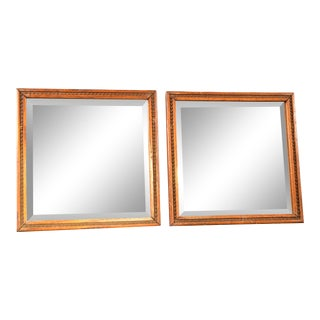 Vintage Square Oak-Framed Beveled Mirrors - a Pair For Sale