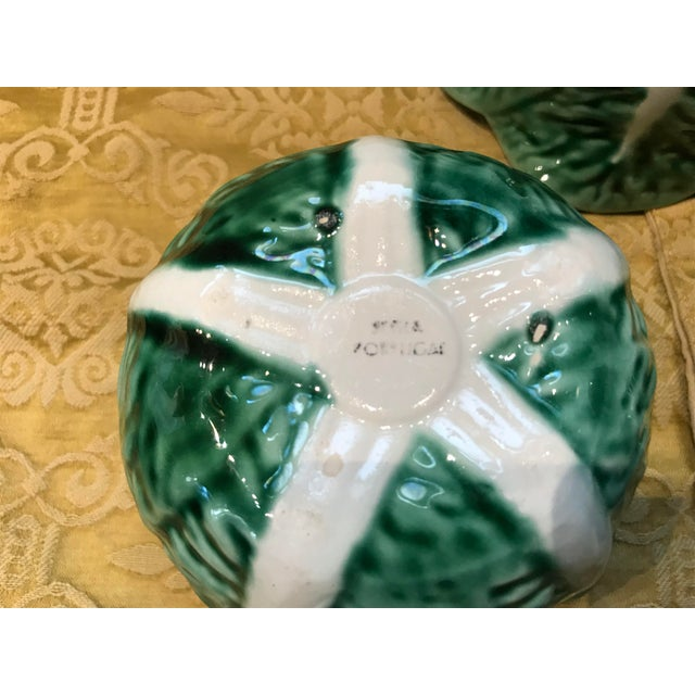 Vintage Secla Majolica Green Cabbage Covered Soup Bowls - Set of 3 For Sale - Image 9 of 12