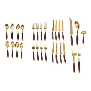 1970s Vintage Boxed Brass and Teakwood 3 Piece Place Settings- Set of 29 For Sale