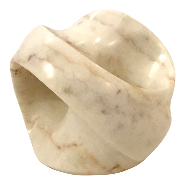 Regina Andrew Modern White Marble Abstract Lyric Sculpture For Sale