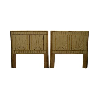 Rattan & Bamboo Sunburst Pair of Twin Headboards For Sale