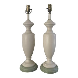 1980s White Baluster/Urn Shaped Wooden Lamps - a Pair For Sale