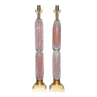 Vintage Murano Pink Opaline Lamps For Sale